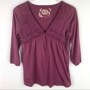 Free People Maroon Long sleeve Top Pleated Front